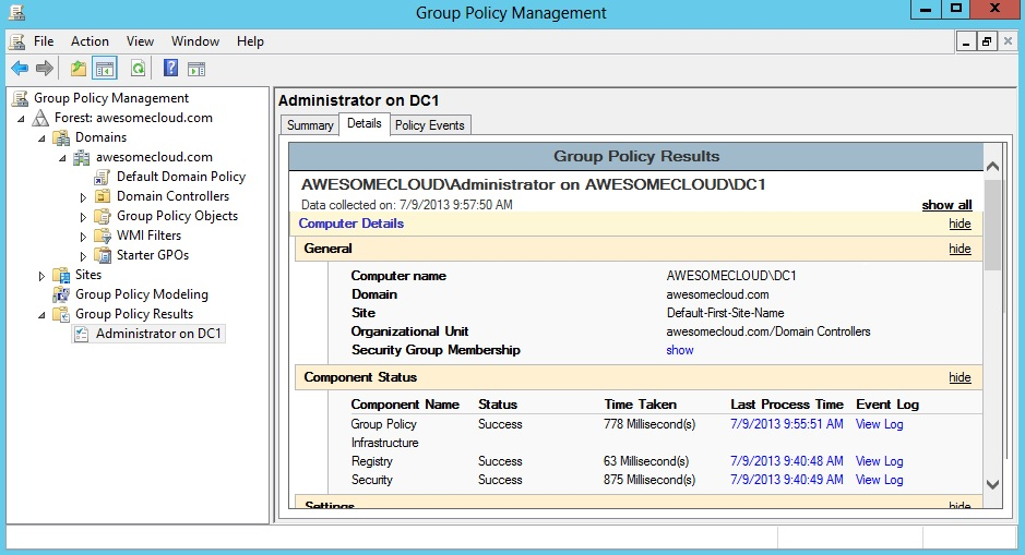 Windows Server 2012 Group Policy Results