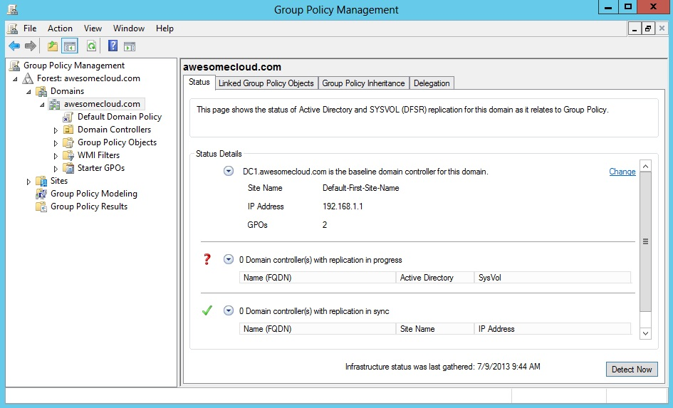 Windows Server 2012 Group Policy Status