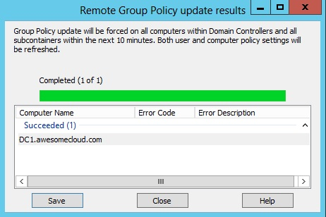 Windows Server 2012 Group Policy Force Update Completion