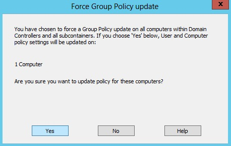 Windows Server 2012 Group Policy Force Update